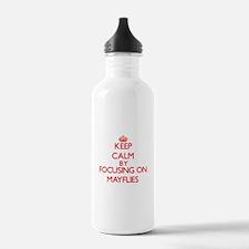 Keep calm by focusing on Mayflies Water Bottle
