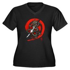 Dragon Katana4 Women's Plus Size V-Neck Dark T-Shi