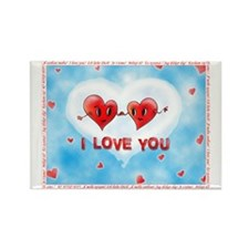 Two Hearts I Love You Foreign Lan Rectangle Magnet