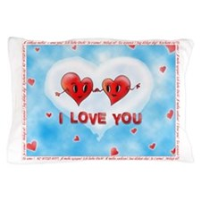 Two Hearts I Love You Foreign Language Pillow Case