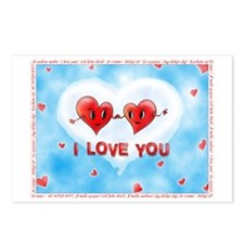 Two Hearts I Love You For Postcards (Package of 8)