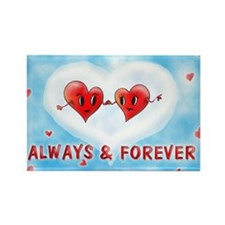 Always and Forever Two Hearts Rectangle Magnet