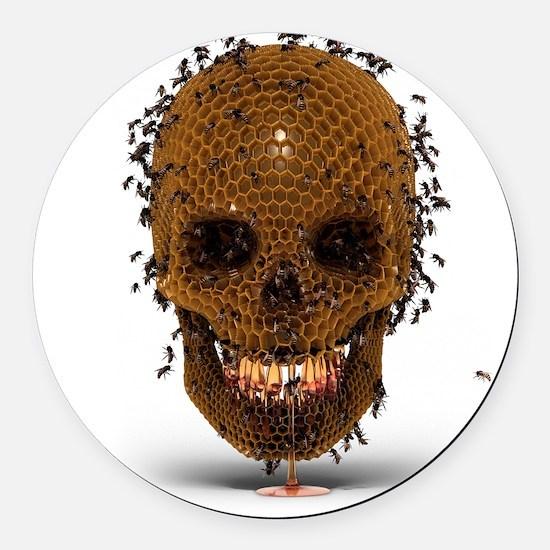Skull Hive Round Car Magnet