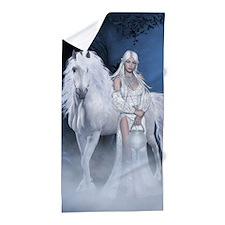 White Lady And Unicorn Beach Towel