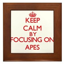 Keep calm by focusing on Apes Framed Tile