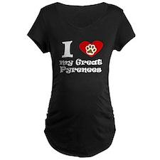 I Heart My Great Pyrenees Maternity T-Shirt