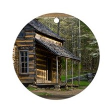 Cabin on Wood Round Ornament
