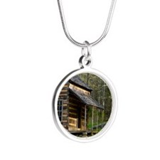 Cabin on Wood Silver Round Necklace