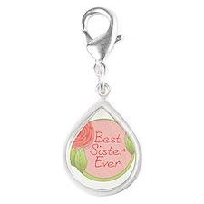 Rose - Best Sister Ever Silver Teardrop Charm