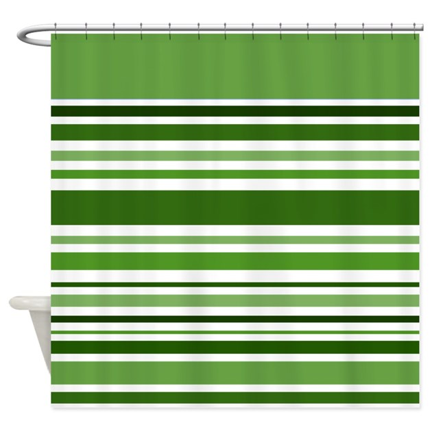 Green Striped Shower Curtain By Giftsofgrace