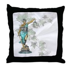 Lady Justice on Satin and Ivy Throw Pillow