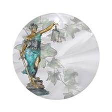 Lady Justice on Satin and Ivy Round Ornament