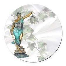 Lady Justice on Satin and Ivy Round Car Magnet
