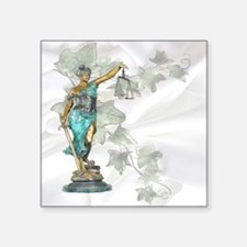 """Lady Justice on Satin and I Square Sticker 3"""" x 3"""""""