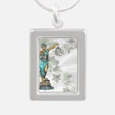 Lady Justice on Satin an Silver Portrait Necklace