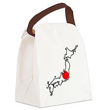 Japan Flag Map Canvas Lunch Bag
