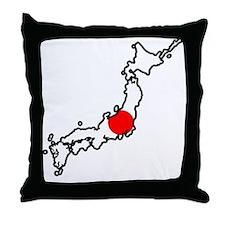 Japan Flag Map Throw Pillow