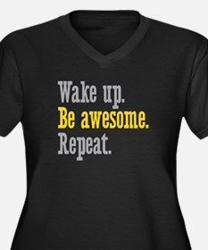 Wake Up Be Awesome Women's Plus Size V-Neck Dark T