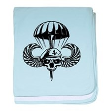 Paratrooper Skull baby blanket