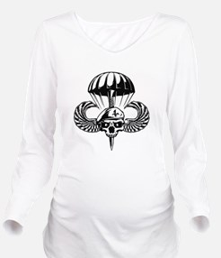 Paratrooper Skull Long Sleeve Maternity T-Shirt