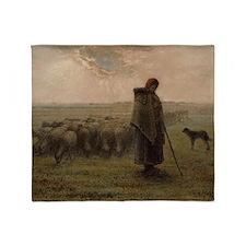 Jean-Francois Millet - Shepherdess a Throw Blanket
