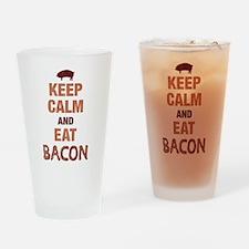 Keep Calm Eat Bacon Drinking Glass