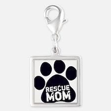 Rescue Mom Silver Square Charm