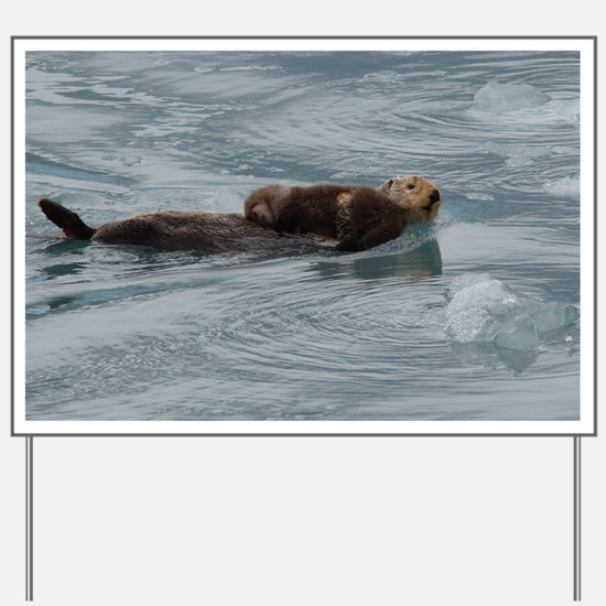 sea otter and baby Yard Sign