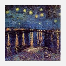 Starry Night over the Rhone. Vintage  Tile Coaster