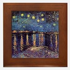 Starry Night over the Rhone. Vintage f Framed Tile