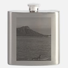 Diamond Head with Surfer in Black and White Flask