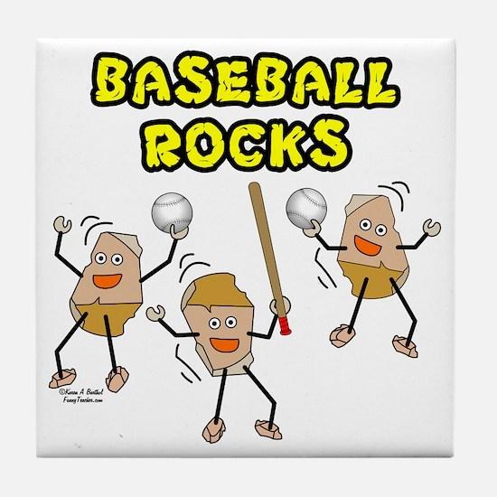 Three Baseball Rocks Tile Coaster