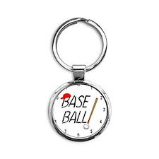 Baseball Exclamation Clock Round Keychain