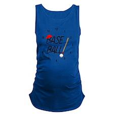 Baseball Exclamation Clock Maternity Tank Top