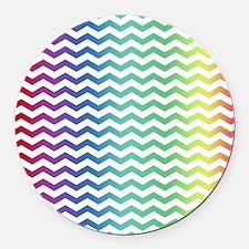 Rainbow Chevron Round Car Magnet