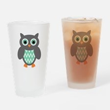 Mint and Grey Owl Drinking Glass