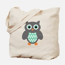 Mint and Grey Owl Tote Bag