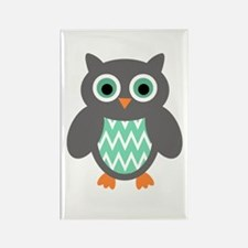 Mint And Grey Owl Magnets