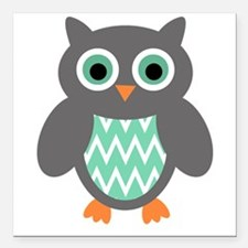 "Mint and Grey Owl Square Car Magnet 3"" x 3"""