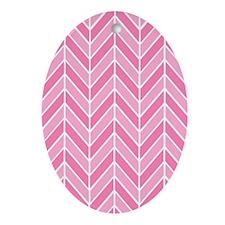 Pink Chevron Oval Ornament
