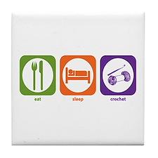 Eat Sleep Crochet Tile Coaster