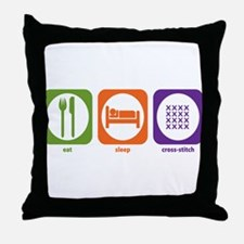 Eat Sleep Cross-stitch Throw Pillow