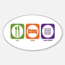 Eat Sleep Cross-stitch Oval Decal