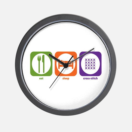 Eat Sleep Cross-stitch Wall Clock