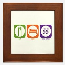 Eat Sleep Cross-stitch Framed Tile