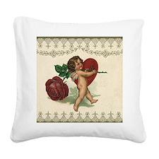 Vintage Valentine's Day Square Canvas Pillow