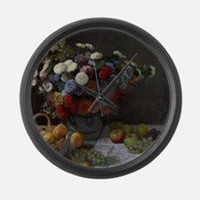 Claude Monet - Still Life with Fl Large Wall Clock
