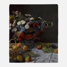 Claude Monet - Still Life with Flowe Throw Blanket