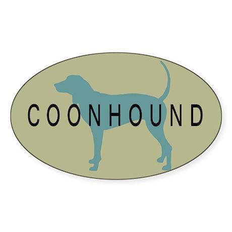 Coonhound Dog Oval Sticker
