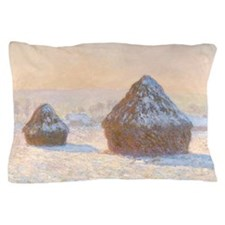 Claude Monet - Wheatstacks, Snow Effec Pillow Case
